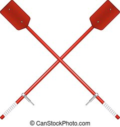 Two crossed old oars in red design