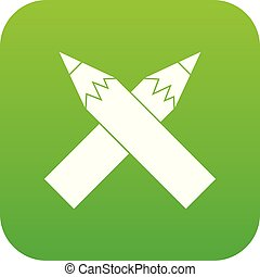 Two crossed pencils icon digital green
