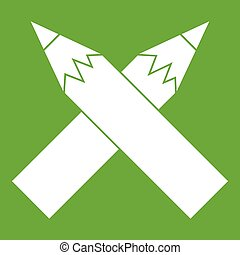 Two crossed pencils icon green