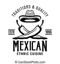 Two crossed peppers and sombrero mexican vector emblem, badge, label or logos in monochrome vintage style isolated on white
