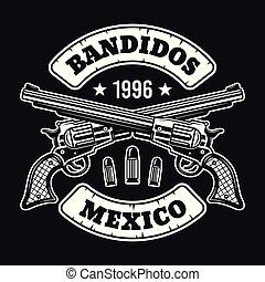 Two crossed pistols vector retro emblem on dark