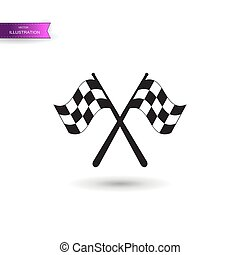 Two crossed racing flags isolated icon