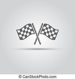 Two crossed racing flags isolated vector icon