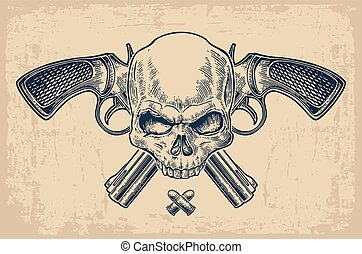 Two crossed revolver with bullets and skull.