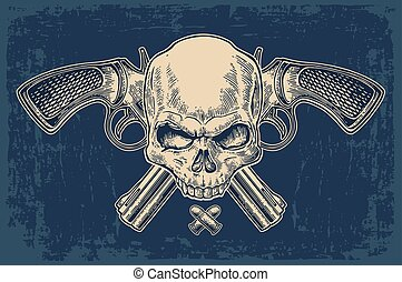 Two crossed revolver with bullets, skull and ribbon.