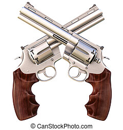 revolvers - two crossed revolvers. isolated on white.