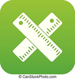 Two crossed rulers icon digital green