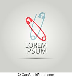 Two crossed safety pin vector concept logo