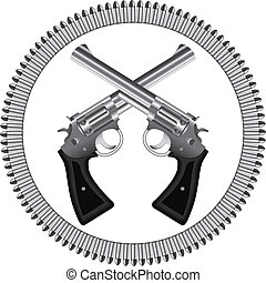 revolvers and bullets - Two crossed silver revolvers and...