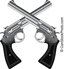 Two crossed silver revolvers