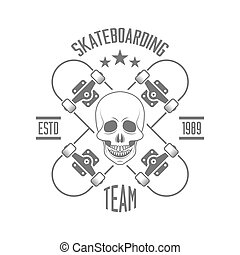 two crossed skateboard and human skull isolated vector monochrom typographical emblem template for skateboarding team