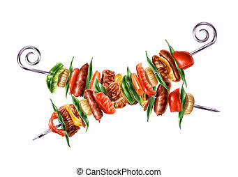 Two crossed skewers kebab with mixed mest and vegetables.