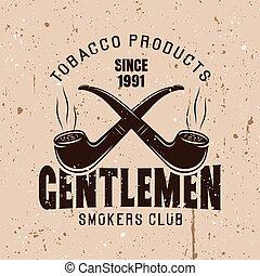 Two crossed smoking pipes vector vintage emblem