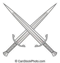 Two crossed swords icon, gray monochrome