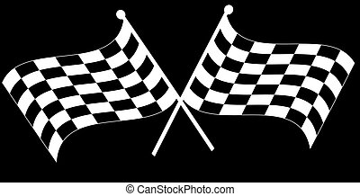 two crossed waving black and white checkered flags
