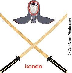 Two crossed wooden training sword for kendo and protective helmet. Wooden Japanese swords, kendo art. Vector kendo weapon