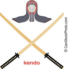 Two crossed wooden training sword for kendo and protective helmet. Wooden Japanese swords, kendo art. Vector kendo weapon