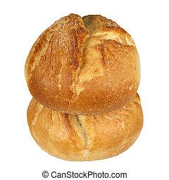 Two crusty bread rolls