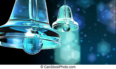 Computer-rendered animation for TV or celebration with two swinged crystal bells.