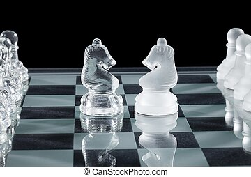 two crystal chess knights