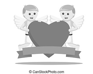 Two cupid holding big heart and banner