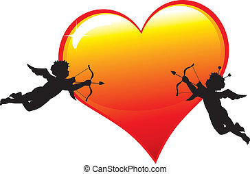 Two cupid silhouettes with a big glossy heart isolated on white background