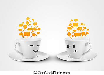 two cups communicate - two happy cups smileys with speech...