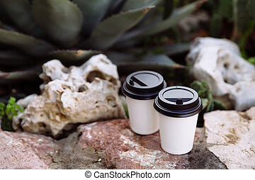 Two cups of coffee to go, cups in white paper on the stones.