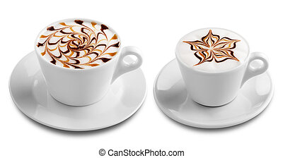 coffee - two cups of coffee with froth decoration