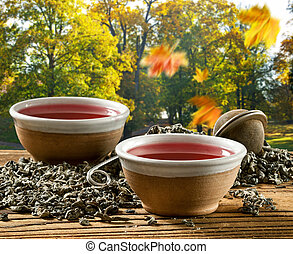 Two cups of tea in the autumn landscape
