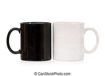 Two cups on white