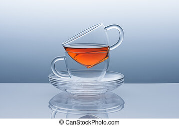 Two cups with saucers from the tea remains - Two cups with...
