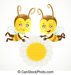 Two cute baby Bees keep a daisy flower with a field for text in the middle  isolated on a white background