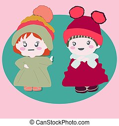Two cute baby dolls wearing winter outfits.