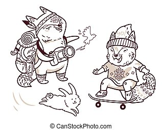 Two cute baby fox characters in outline. Tourist and skater