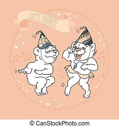 Two cute bears in party hats are dancing.