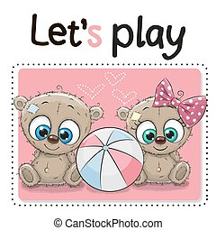 Two Cute Bears with a ball