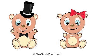 Two cute, beautiful, brown bear girl and boy with big head and blue eyes in a cylinder and bow tie, bow and pearl necklace on white background and copy space. Vector illustration