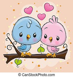 Two Cute Birds is sitting on a branch