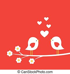 Two cute birds on blooming branch - card for Valentine day