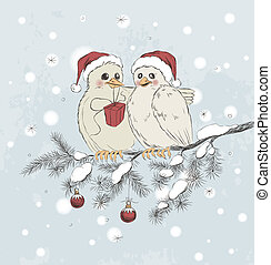 Two cute birds with Christmas hats