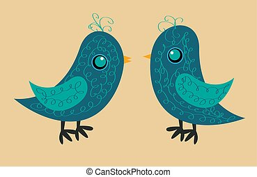 Two cute blue birds with a pattern on the body, a yellow beak and a blue eye, a side view