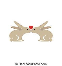 two cute bunnies being in love