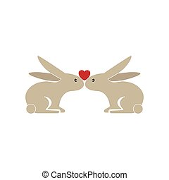two cute bunnies being in love