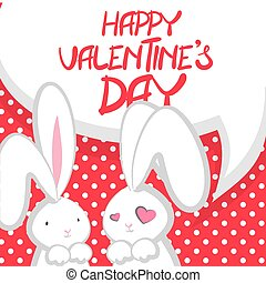 Two cute bunny Valentines Day