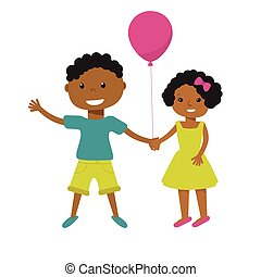 Two cute cartoon african american children with pink balloon holding hands. Older boy and smaller girl, brother  sister, or friends illustration