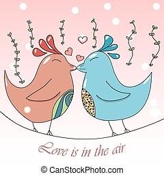 Two cute cartoon birds sitting on the tree branch and kissing each other. Pretty Valentines day postcard