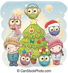 Two Cute Cartoon boy and girl and five owls