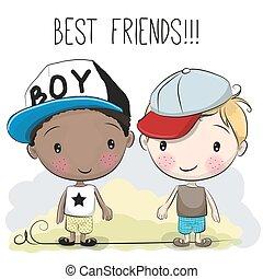 Two Cute cartoon boys