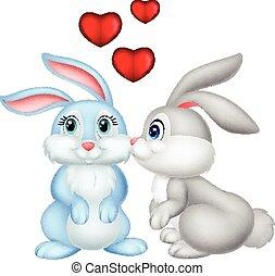 Two cute cartoon bunnies in love